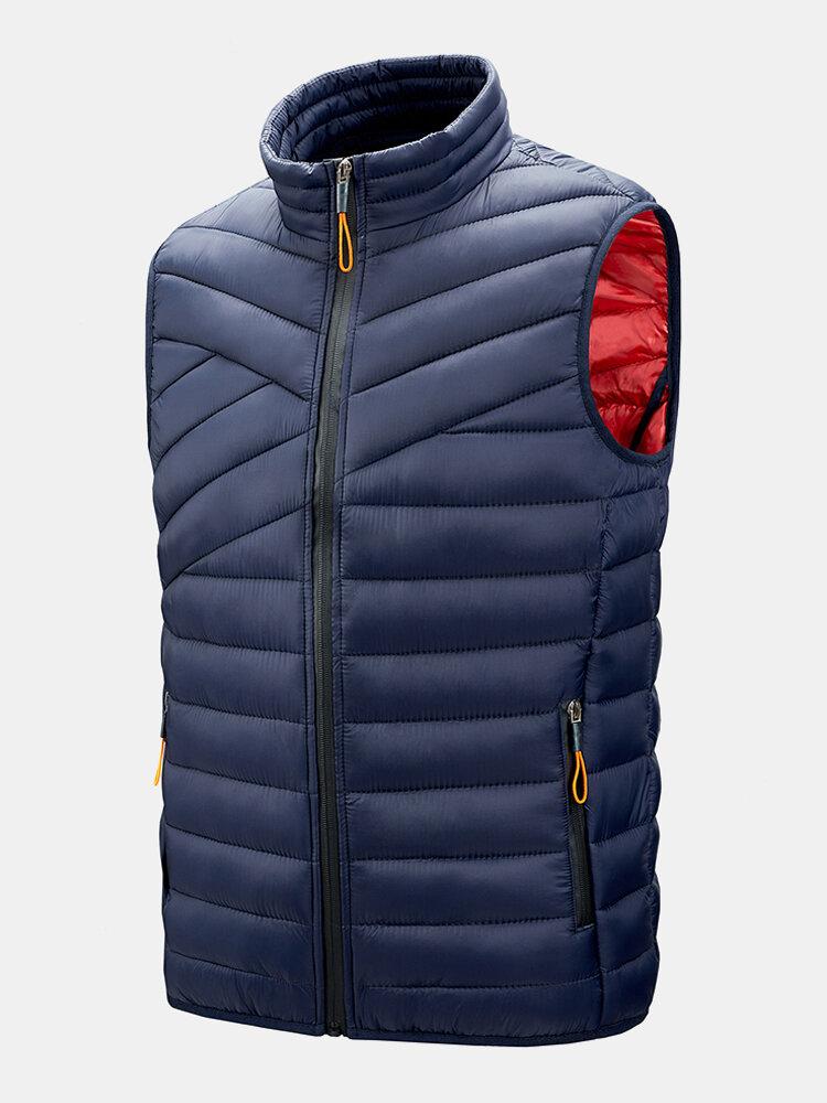Mens Solid Zip Up Sleevless Padded Gilet Vest