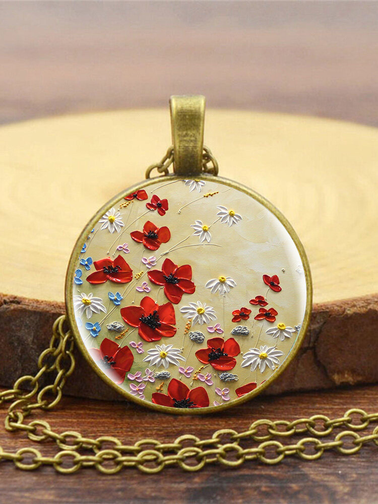 Vintage Glass Printed White Red Floral Pendant Necklace Women Necklace
