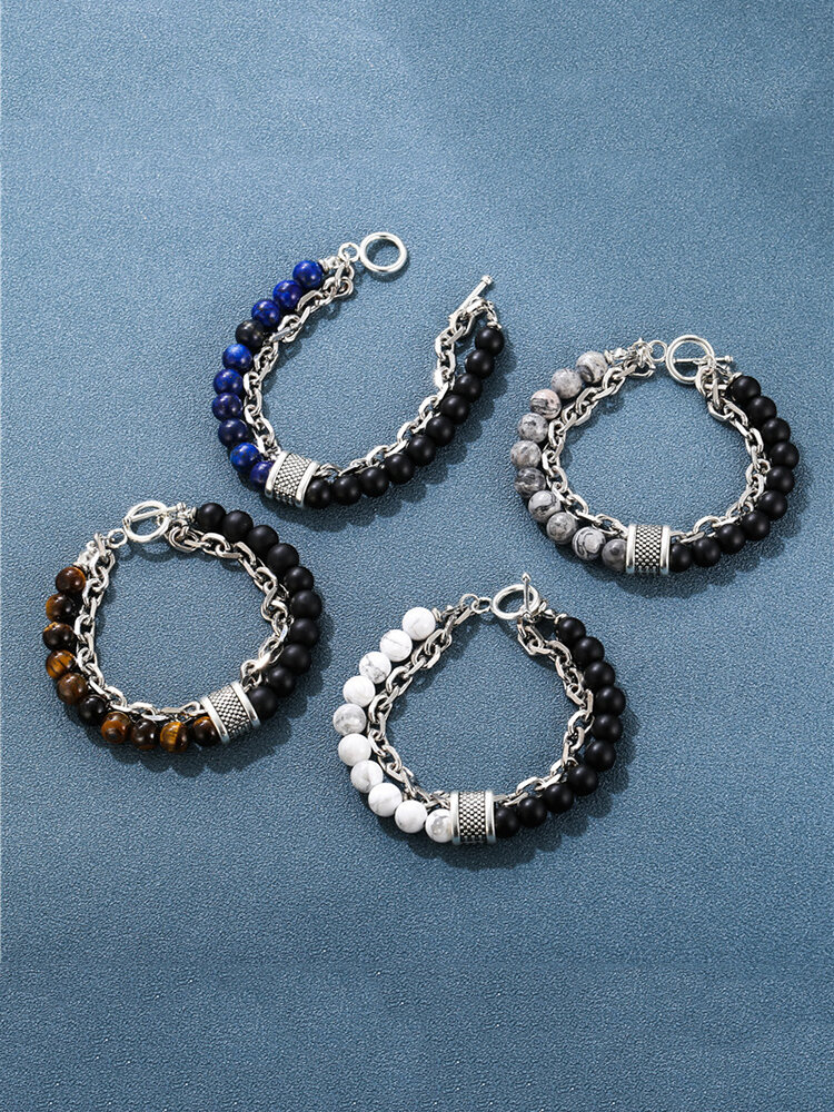 Punk Alloy Frosted Stone Chain Bracelet