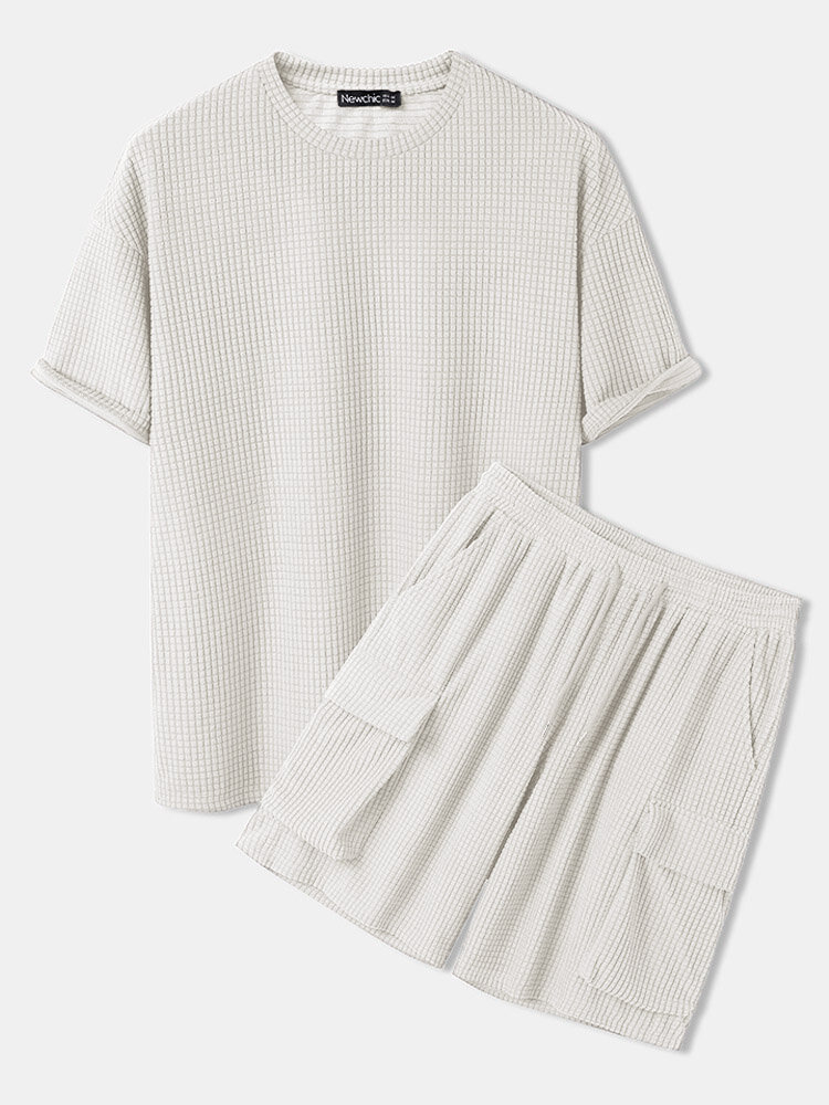 Mens Waffle Big Pocket Shorts Design Drop Shoulder Loose Two Pieces Loungewear