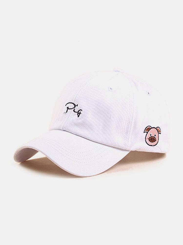 ユニセックスコットン無地文字漫画豚刺繡シンプルな野球帽