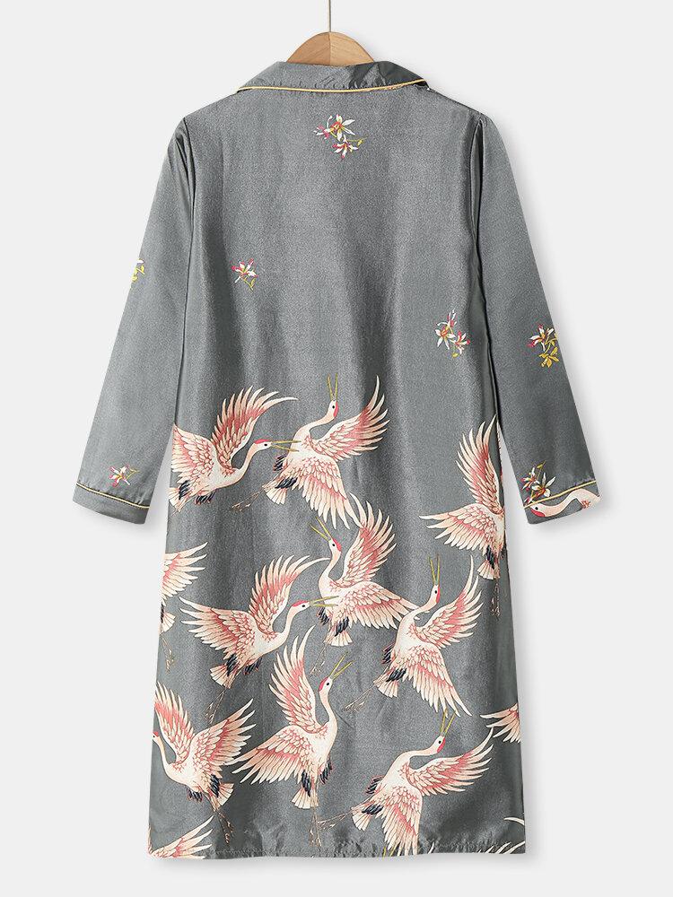 Plus Size Women Crane Pattern Ethnic Style Faux Silk Long Sleeve Home Robes