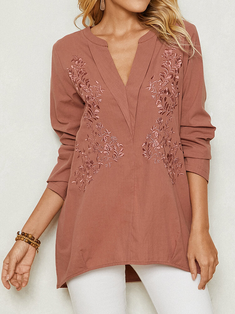 Floral Embroidery V-neck Long Sleeve Solid Women Blouse