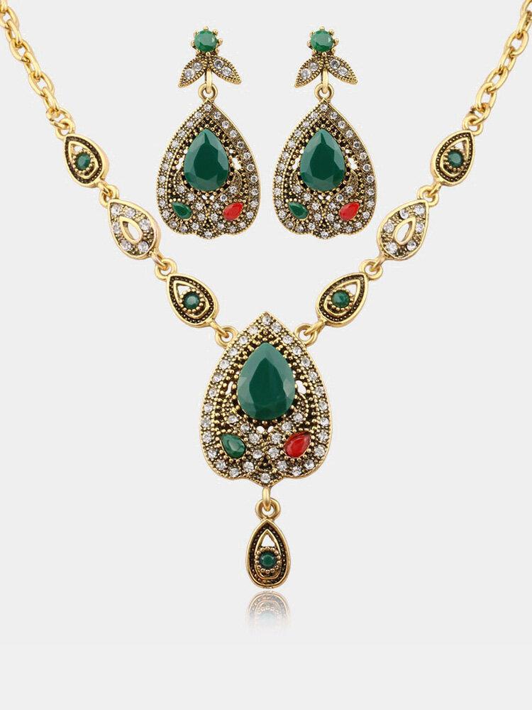Conjunto de joyas de lujo de la gota de oro cadena de diamantes de imitación collar del encanto pendiente joyería étnica para las mujeres