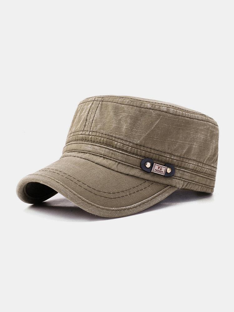 Men Denim Label Solid Color Retro Casual Military Hat