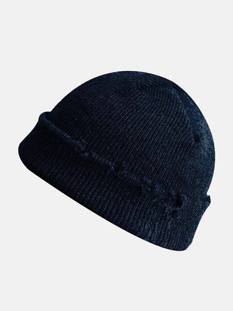 Women & Men roken Knitted Melon Skull Caps Fur Hat Dome Knit Beanie Hat