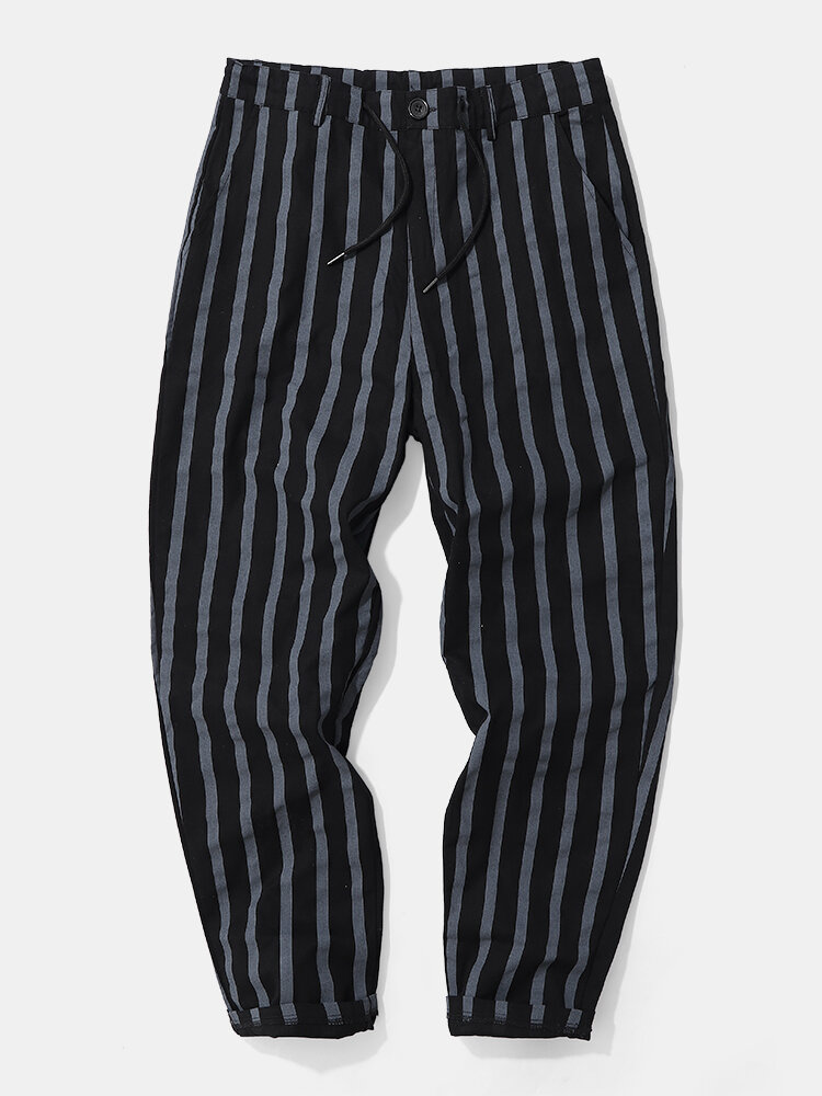 Mens Vertical Stripe Skinny Fit Casual Cotton Zipper Fly Pants