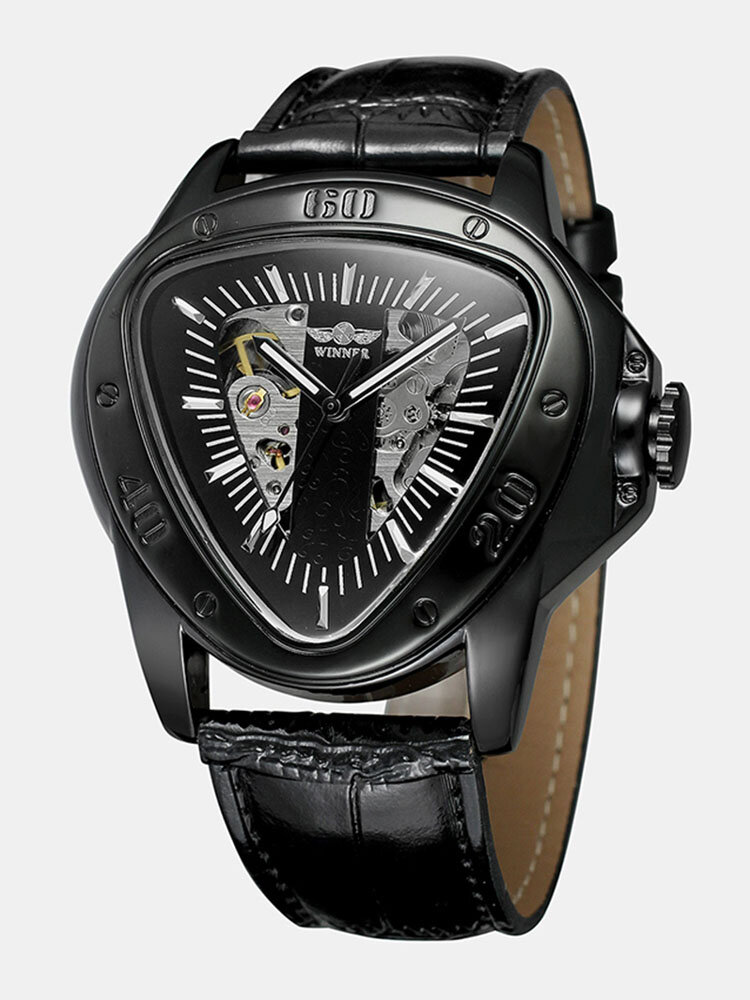 Leisure Business Men Watch Triangle Dial Leather Band Waterproof Mechanical Watch