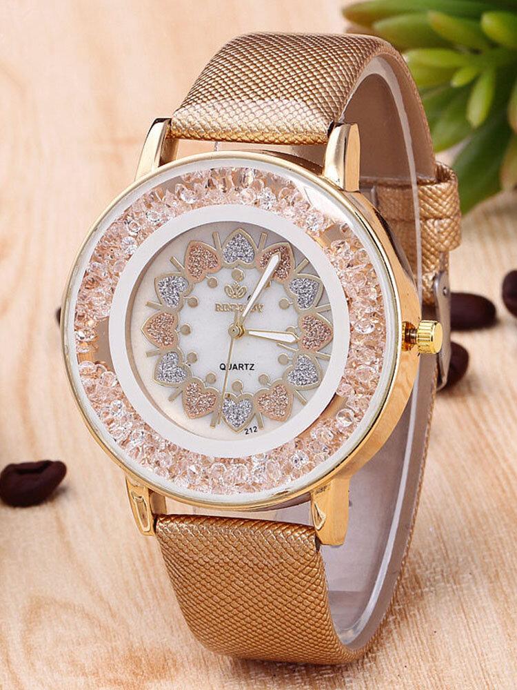 Montre à quartz classique cœur perles de roche bracelet en cuir PU pour femme montres en gros