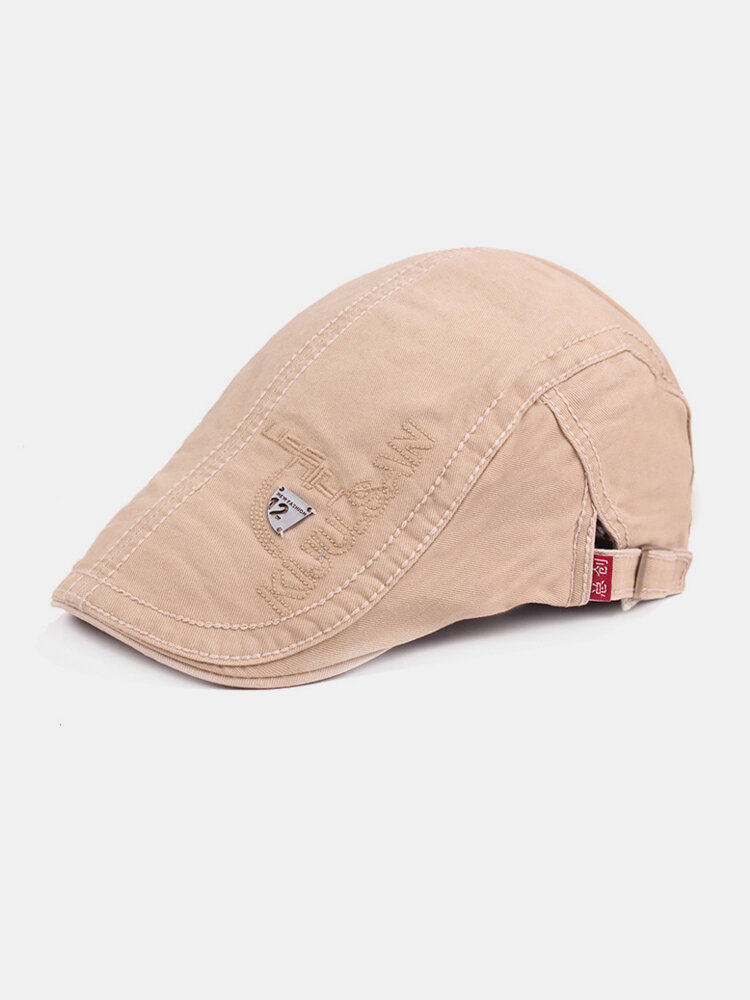 Mens Classic Embroidery Letter Cotton Sunshade Beret Caps Casual Adjustable Forward Hat
