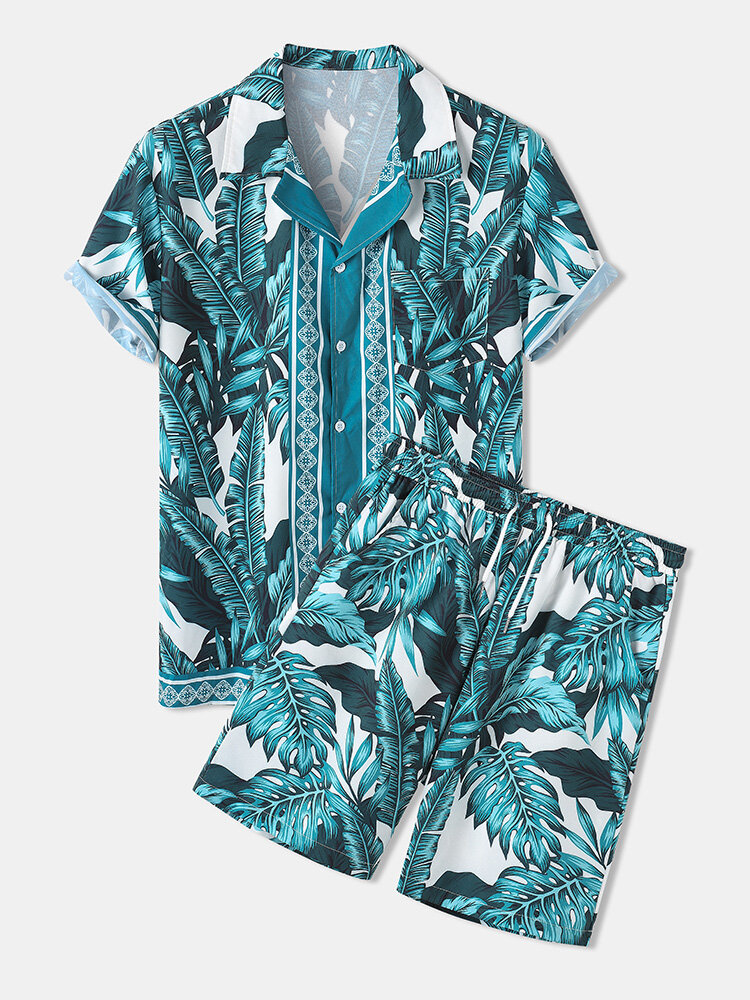 Mens Summer Holiday Revere Collar Tropical Leaf Pattern Baroque Two Piece Outfits