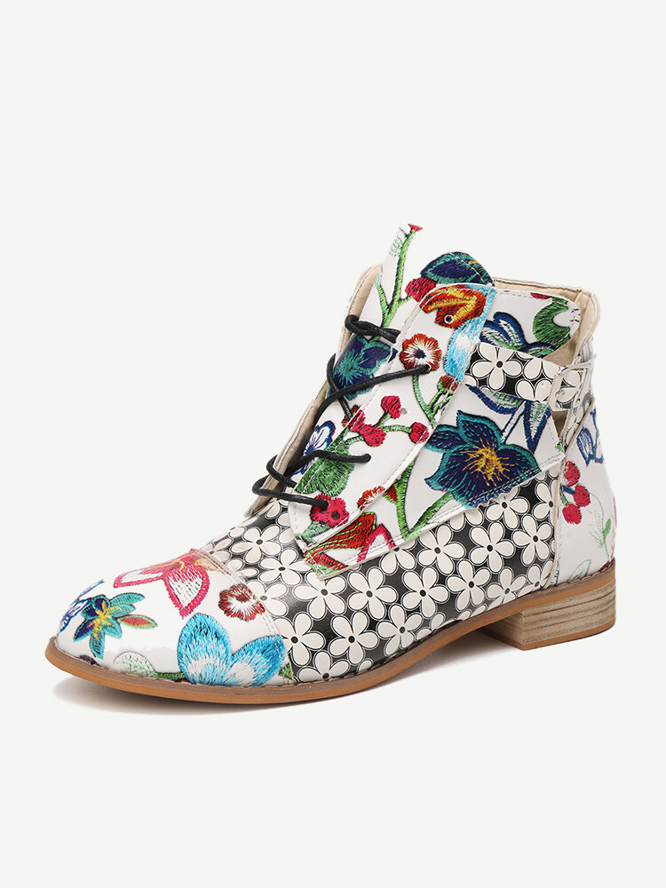 Women Elegant Flowers Printing Lace Up Block Heel Ankle Boots