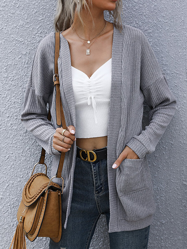 Solid Color Knitted Pocket Long Sleeve Casual Cardigan for Women