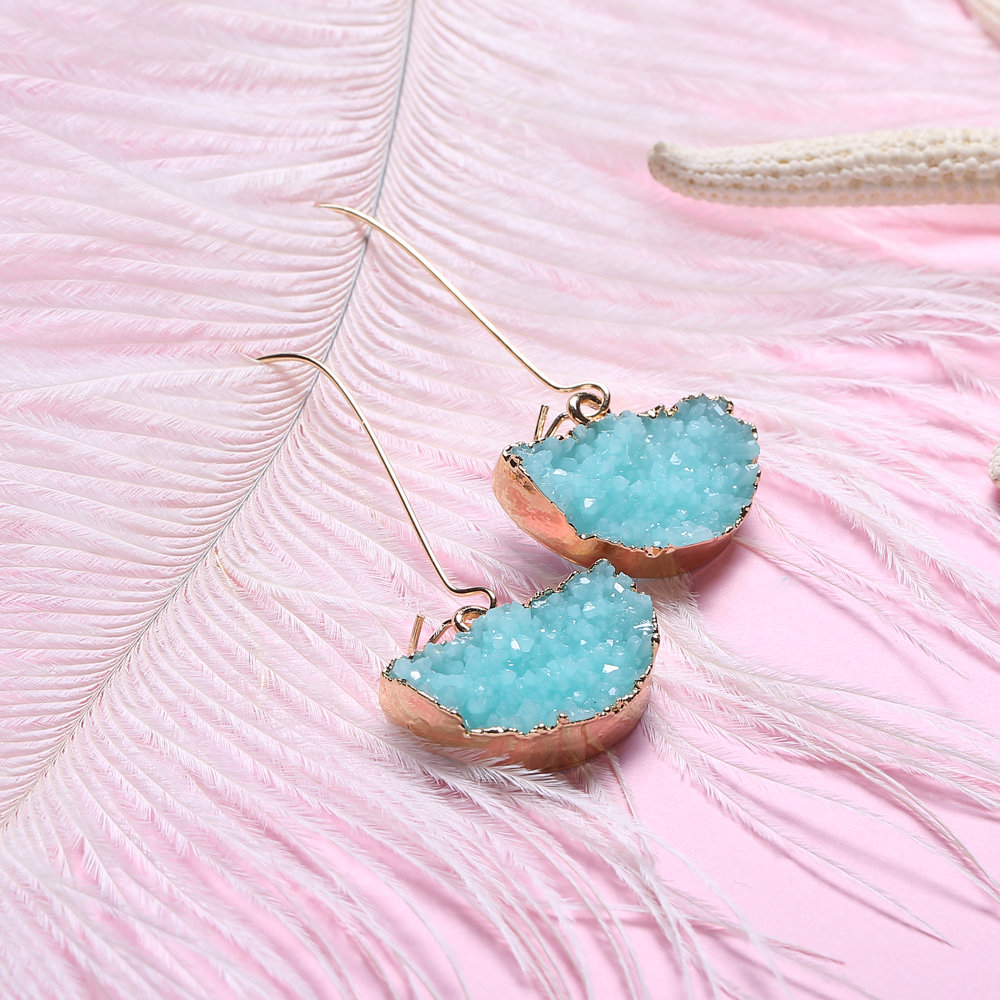 Stylish Semicircle Geometric Natural Crystal Stones Micro Paved Dangle Earrings Jewelry for Women
