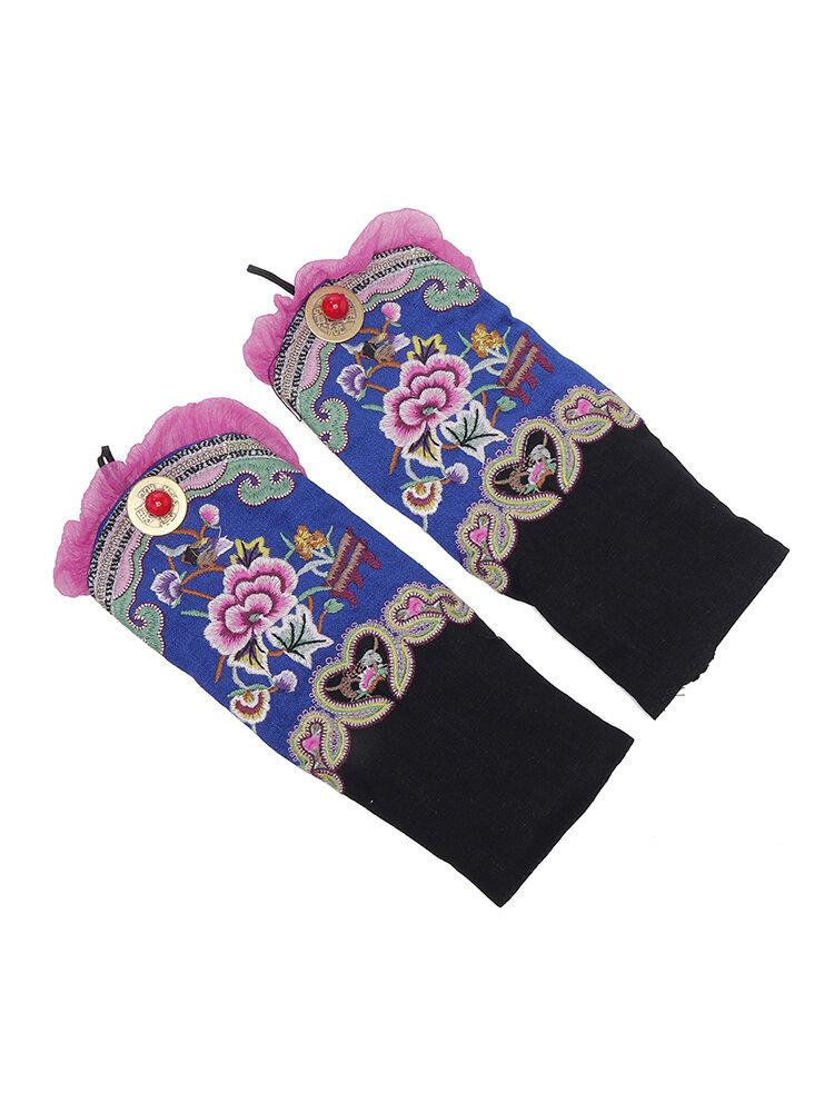 Women Vintage Ethnic Style Embroidery Flower Gloves Dance Warm Wrist Bracelet Accessories