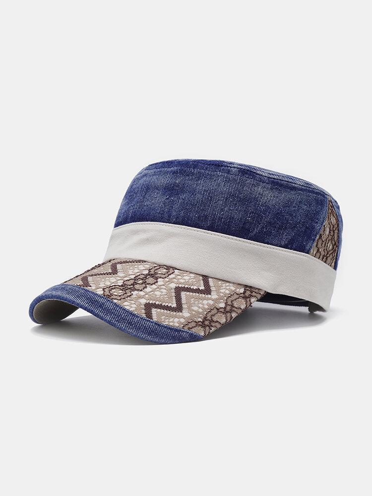 Men Adjustable Denim Flat Cap Windproof Wild Simple Style Outdoor Casual Home Travel Hat