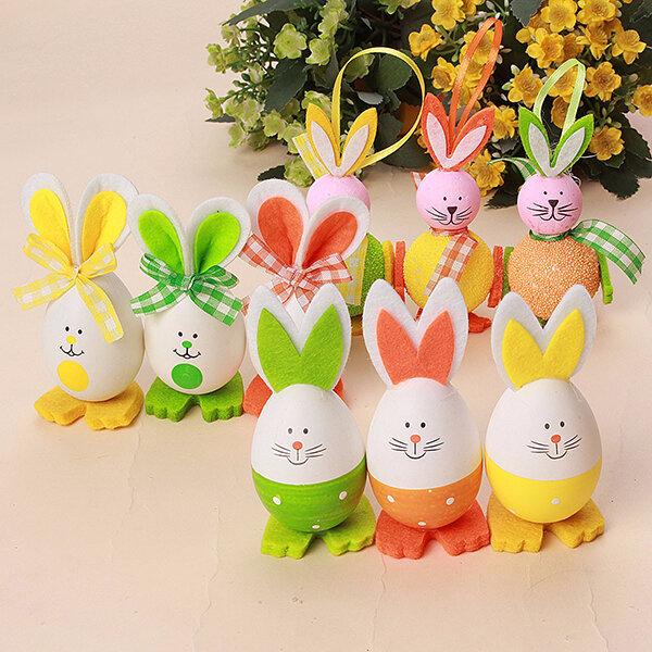 3Pcs DIY Easter Rabbit Shape Eggs Toys Dolls Hanging Bunny Decoration Home Decor Ornaments