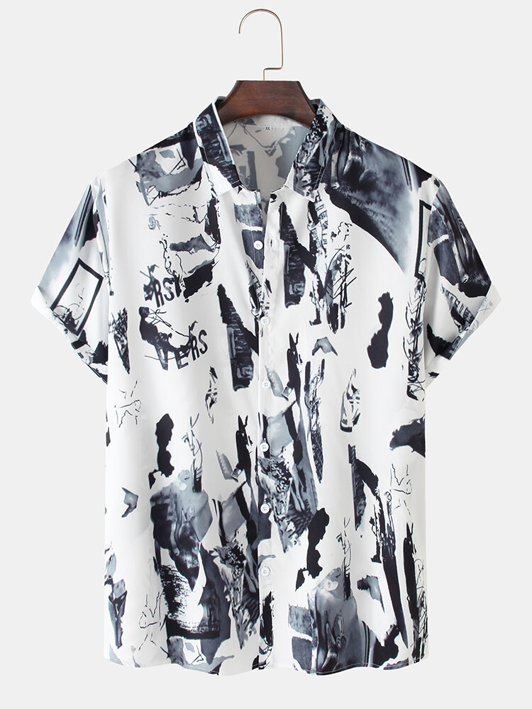 Mens Scenery Ink Painting Print Cotton Casual Short Sleeve Shirts
