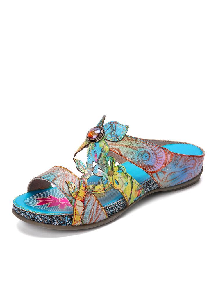 Socofy Retro Ethnic Print Colorful Gradient Genuine Leather Hook Loop Sling Back Soft Comfy Flat Sandals