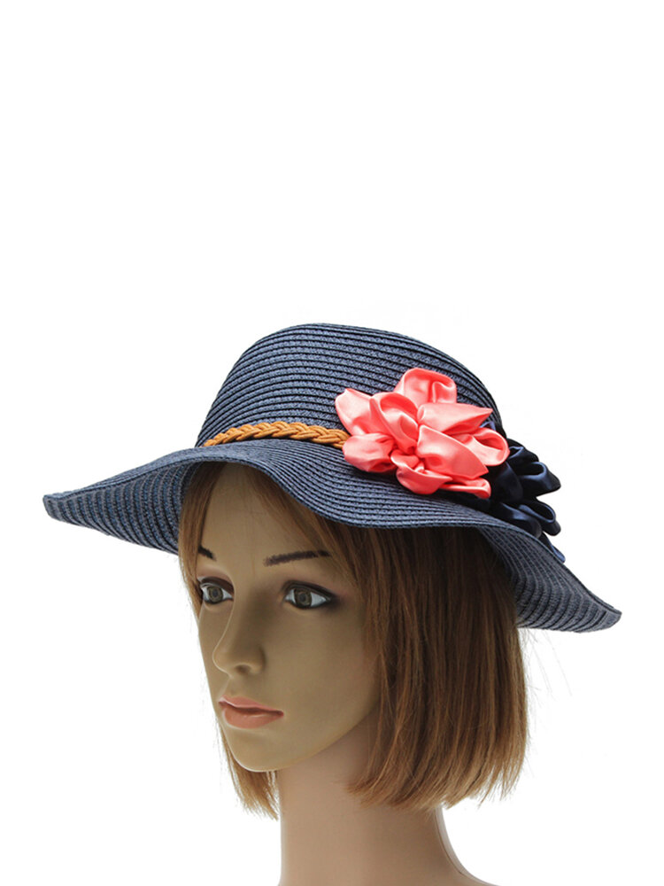 Women Trilby Beach Sun Hat Flower Elegant Straw Floppy Travel Cap