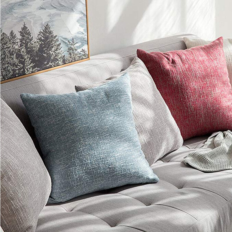 Sofa Pillowcase Living Room Solid Color Cotton And Linen Cushion Pillow Waist Pillow
