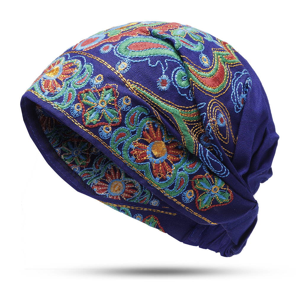 Womens Embroidery Ethnic Cotton Beanie Hat Vintage Good Elastic Breathable Turban Cap