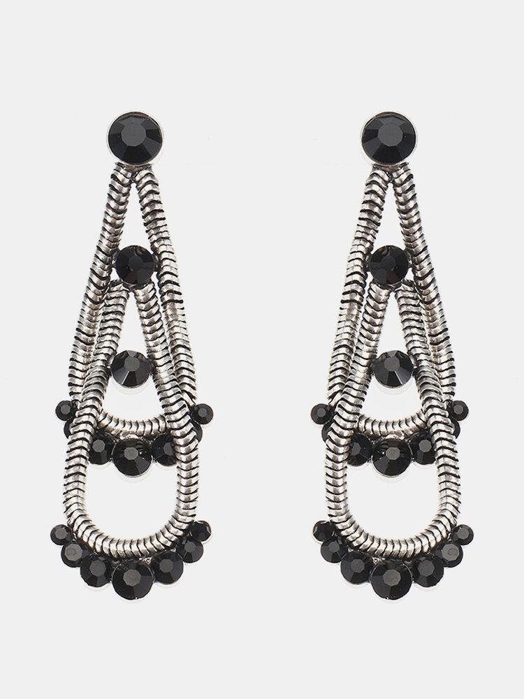 JASSY® Steampunk Mujer Pendientes Retro Chapado en plata antigua Black Gemstone Double Layer Oreja Stud