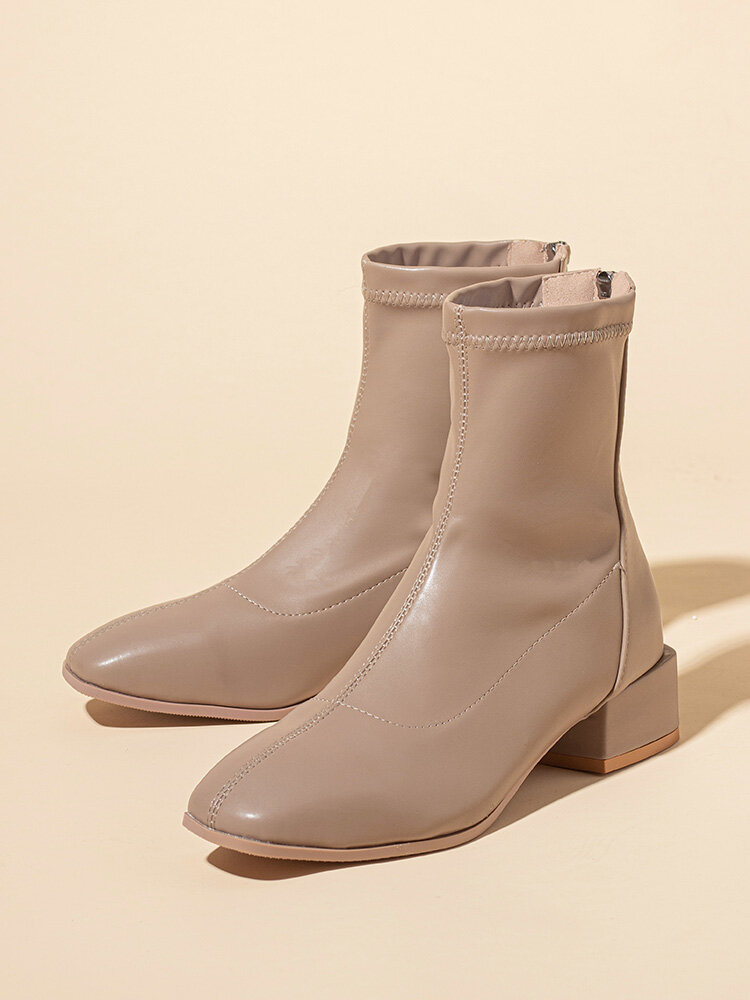 Casual Brief Solid Color Square Toe Back-zip Chunky Heel Women's Boots