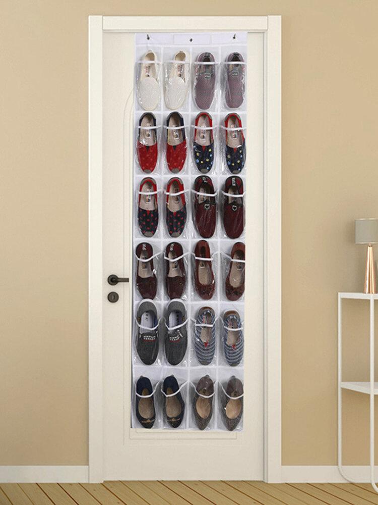 24 rejilla Puerta detrás de zapatos colgantes Bolsa Artículos para el hogar zapatillas Acabado Bolsa PVC Colgante de pared Transparente Almacenamiento Bolsa
