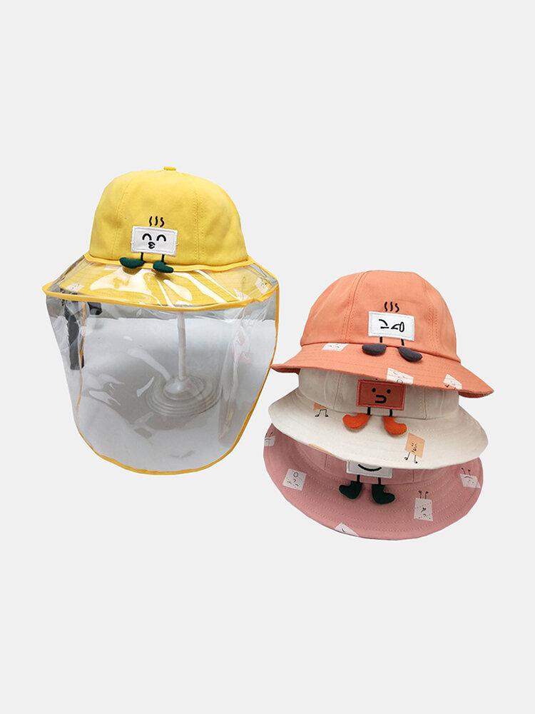 Children's Cartoon Windproof Removable Face Screen Cute Sun Hat