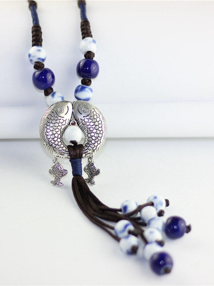 Ethnic Women's Adjustable Handmade Long Necklace Fish Pendant Ceramic Drop Tassel Necklace for Women