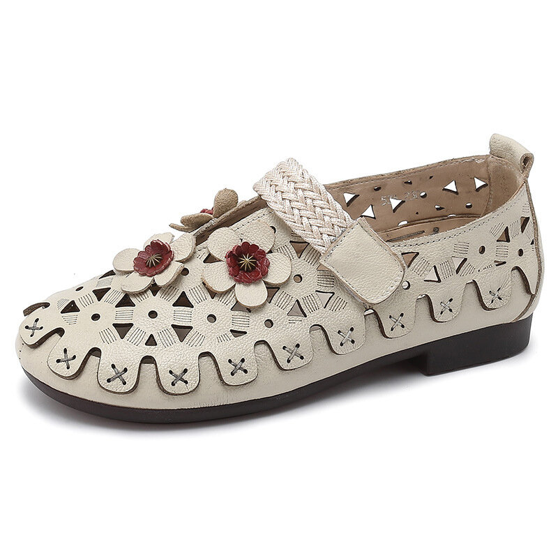 Flower_Adjustable_Hook_Loop_Casual_Hollow_Retro_Flat_Shoes