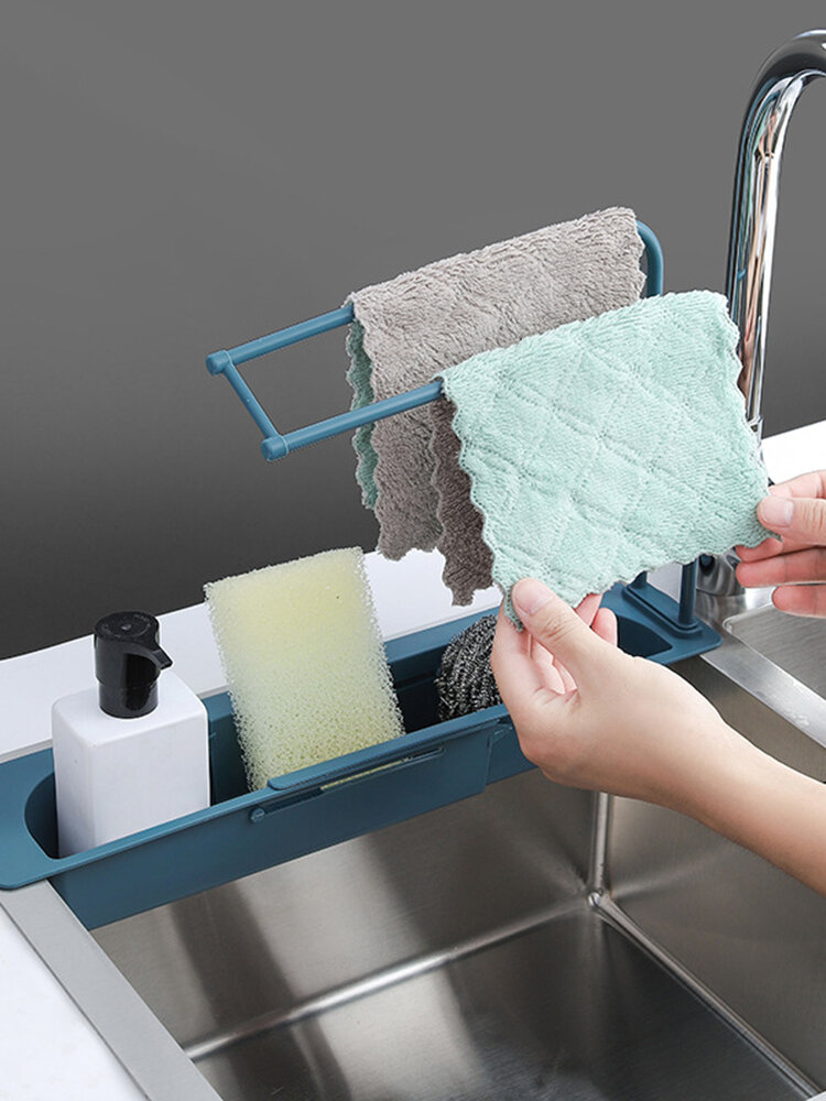 Telescopic Sink Sponge Holder Expandable Water Storage Basket Towel Bar Extensible Sink Storage Rack