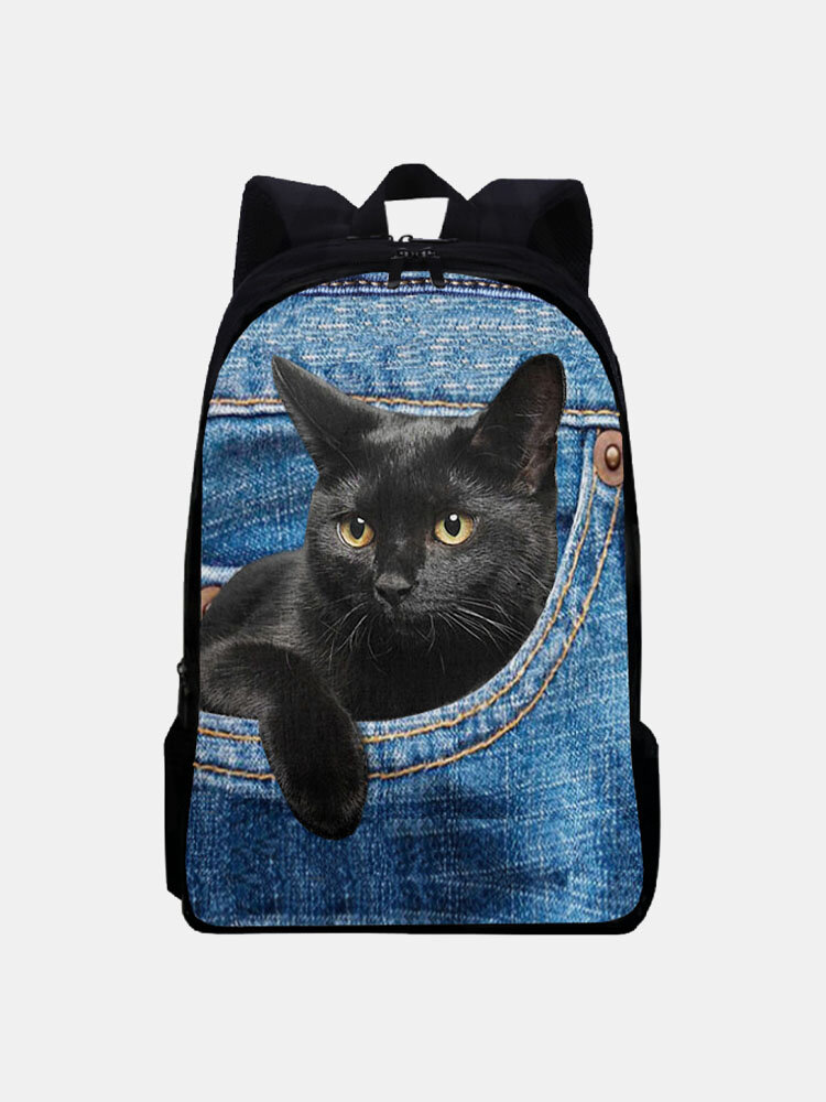 Women Oxford Large Capacity Cat Pattern Printing Backpack