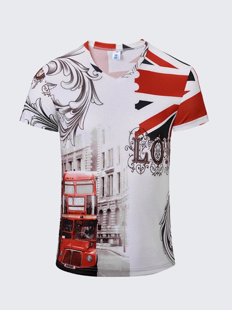 Casual Bus Flag Printing Vintage V-Neck T-Shirt Breathable Short Sleeved Tees For Men