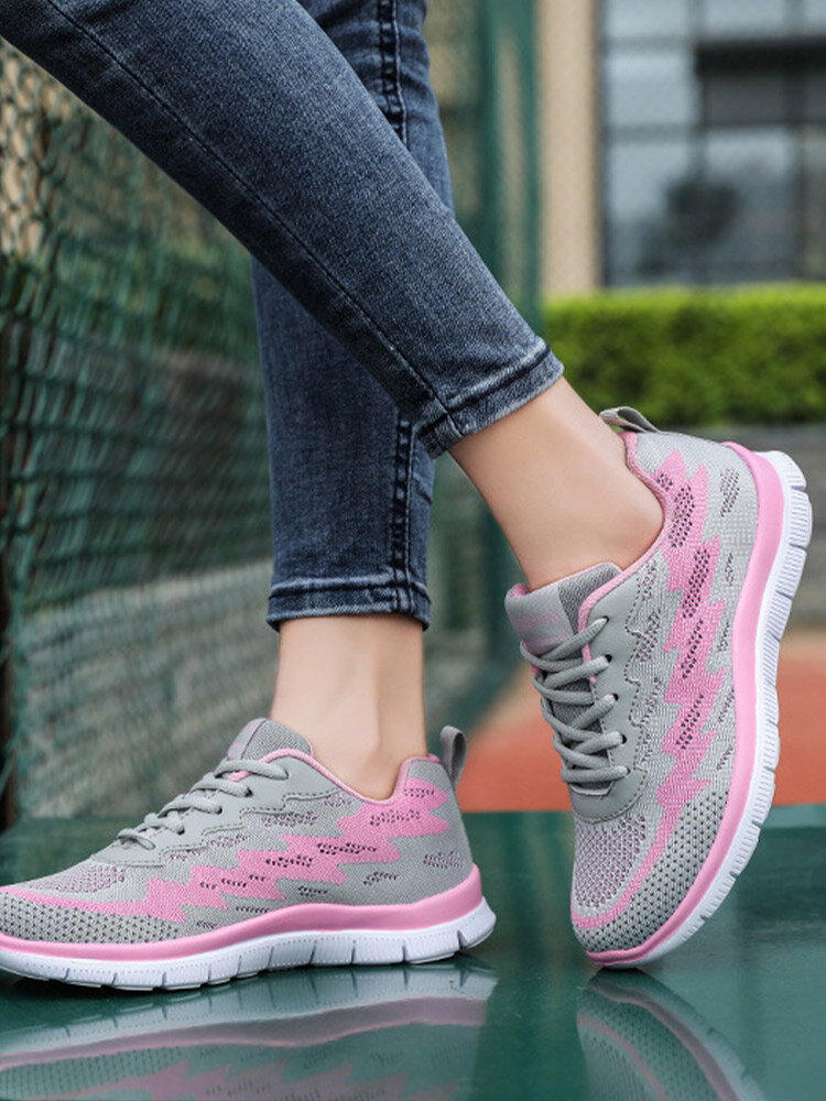 Plus Size Women Casual Lace-up Breathable Knitted Mesh Fabric Soft Comfy Sneakers