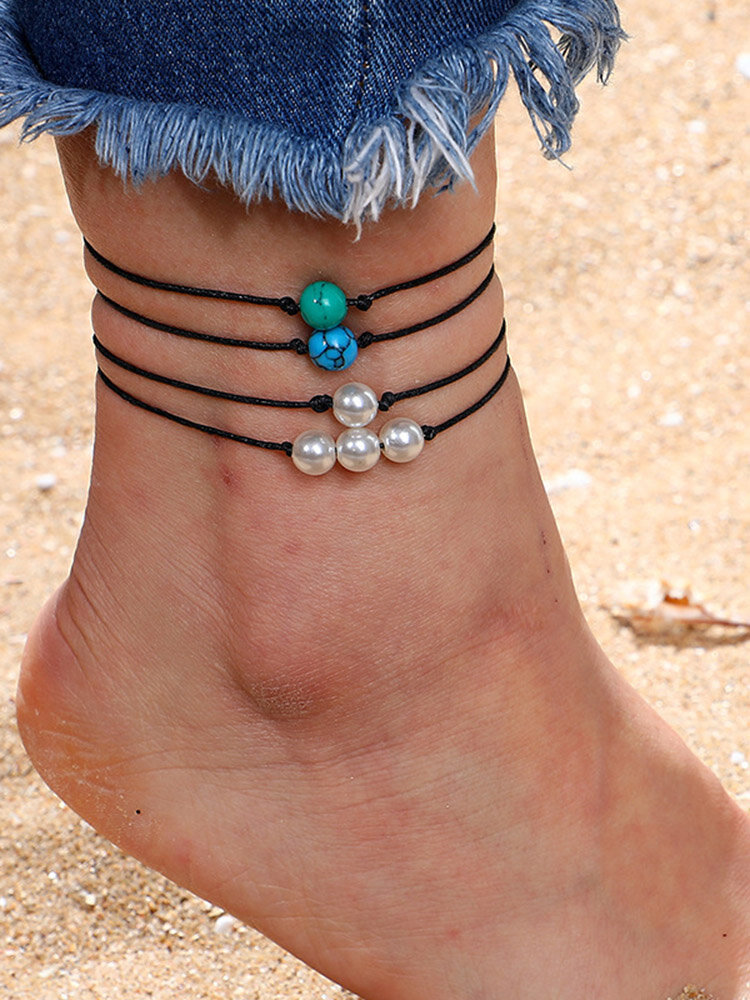 Bohemian Pearl Anklet Set Turquoise Manual Weaving Wax Rope Anklet Ethnic Jewelry for Women