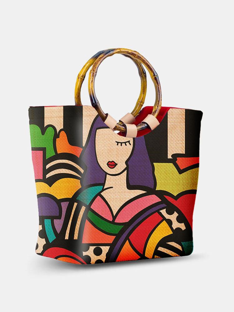 Frauen Strand Sommer Stroh Colorful Cartoon Figur Muster Handtasche Tote