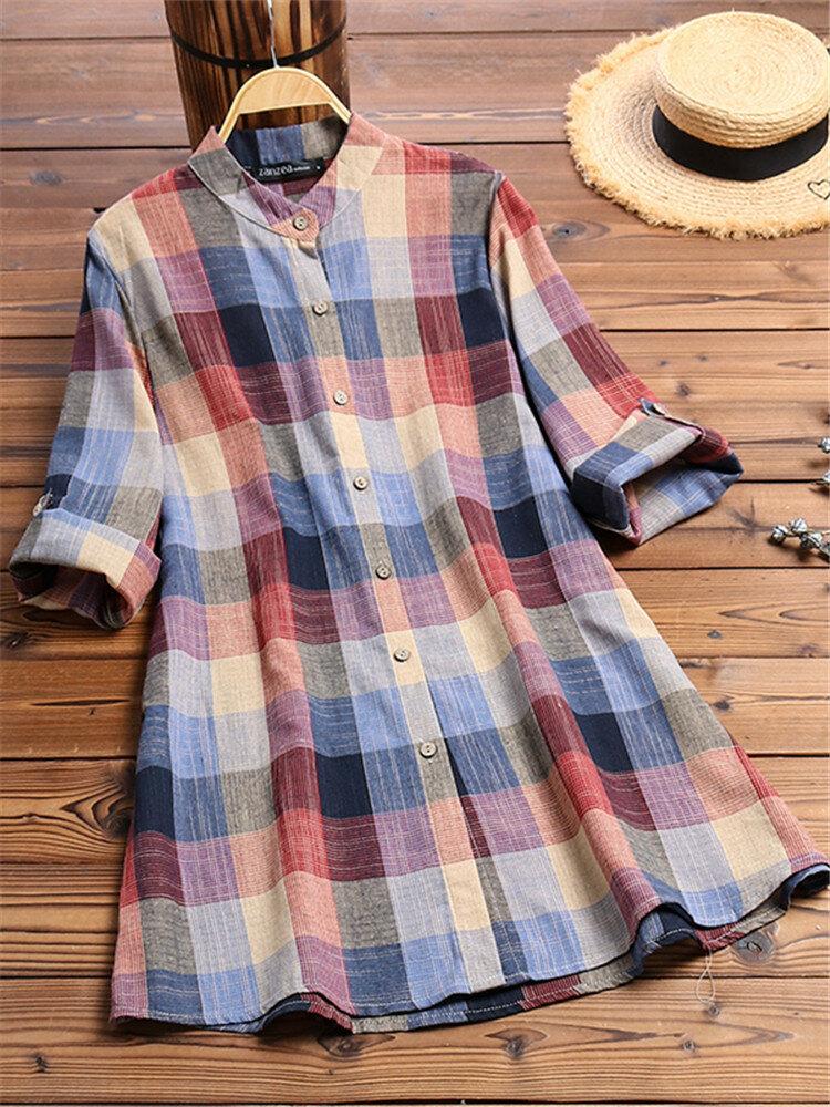 Vintage Print Plaid Multicolor Long Sleeve Button Blouse