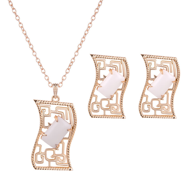 Elegant Jewelry Set Rectangle Resin Necklace Earrings Set