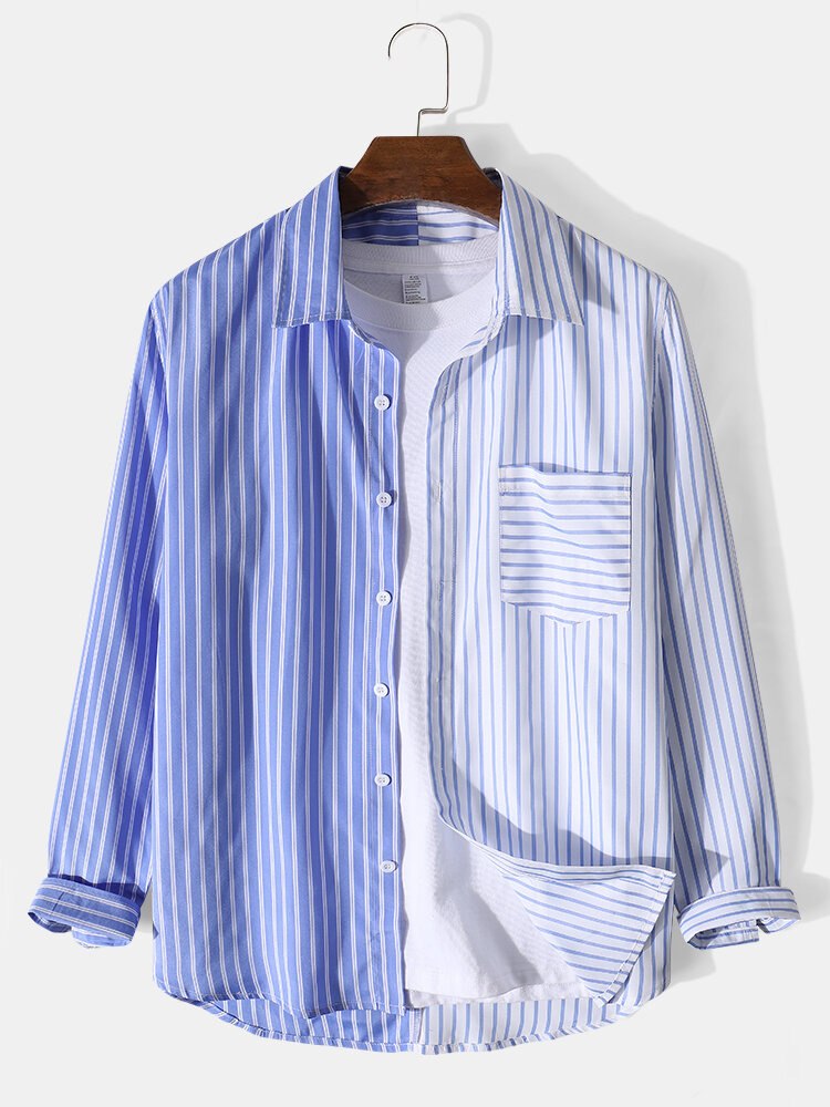 Mens Patchwork Stripe Lapel Chest Pocket Casual Long Sleeve Shirts