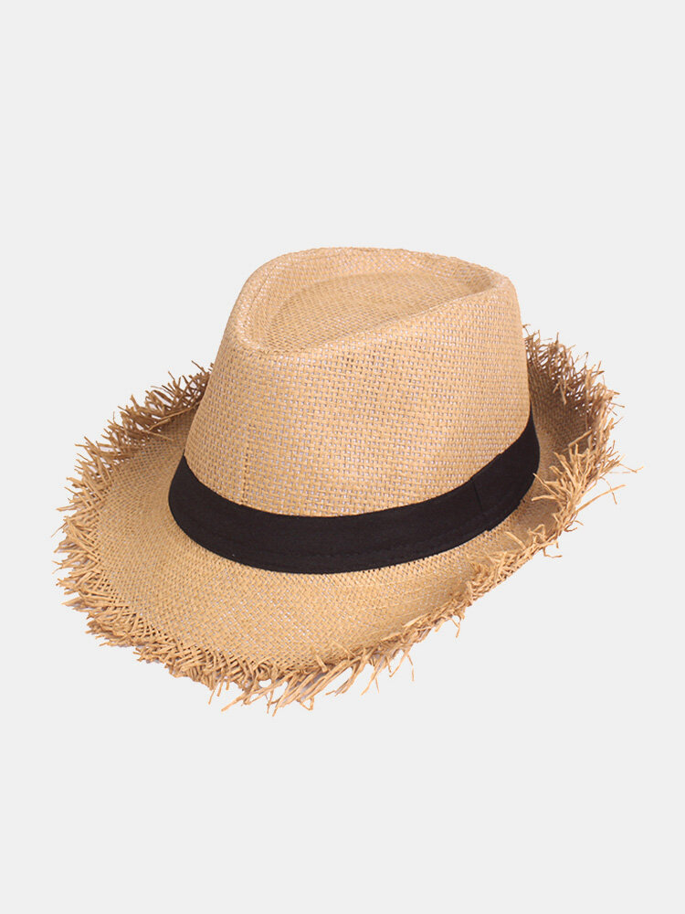 Mens Vogue Solid Straw Breathable Jazz Cap Outdoor Travel Sunshade Fashion Cap
