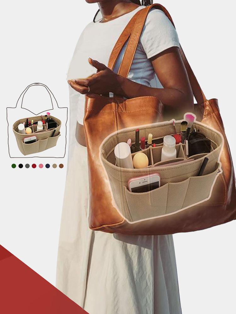 Women Multifunction Felt Cosmetic Bag Insert Organizer