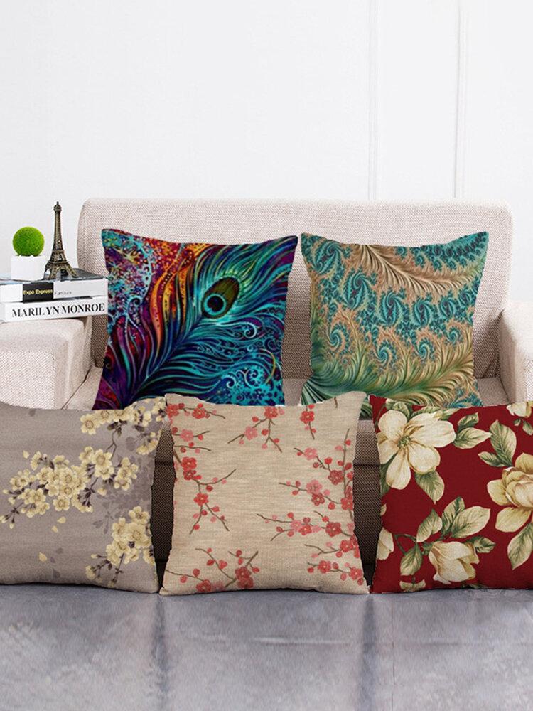 Baumwolle Leinen Kissenbezug Quadrat Home Dekorative Pfau Blumenmuster Kissenbezüge