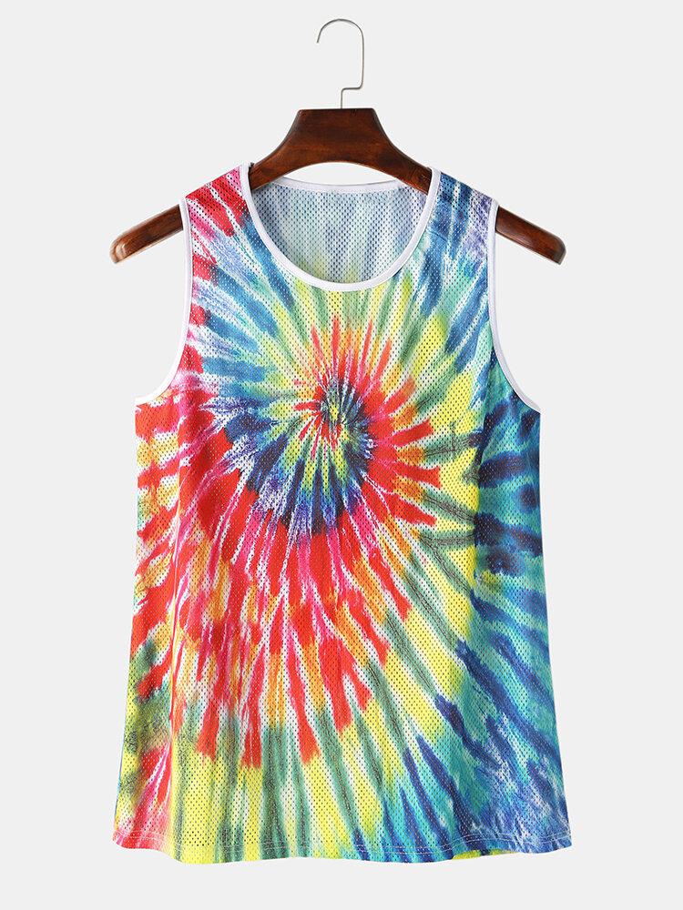 Colorful Tie Dye Mesh Sport Sleeveless Tank Tops Breathable Running Gym Vest For Men