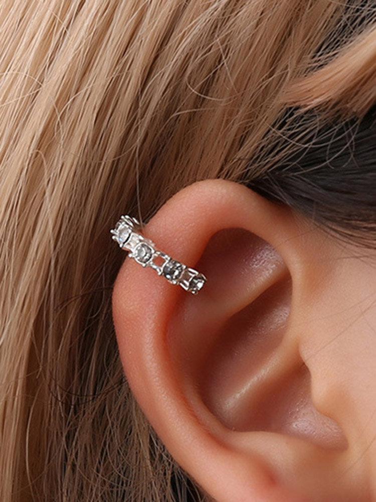 Sweet Ear Clip Earrings Silver Gold Open Round Geometric Rhinestone Earrings Cute Jewelry for Women