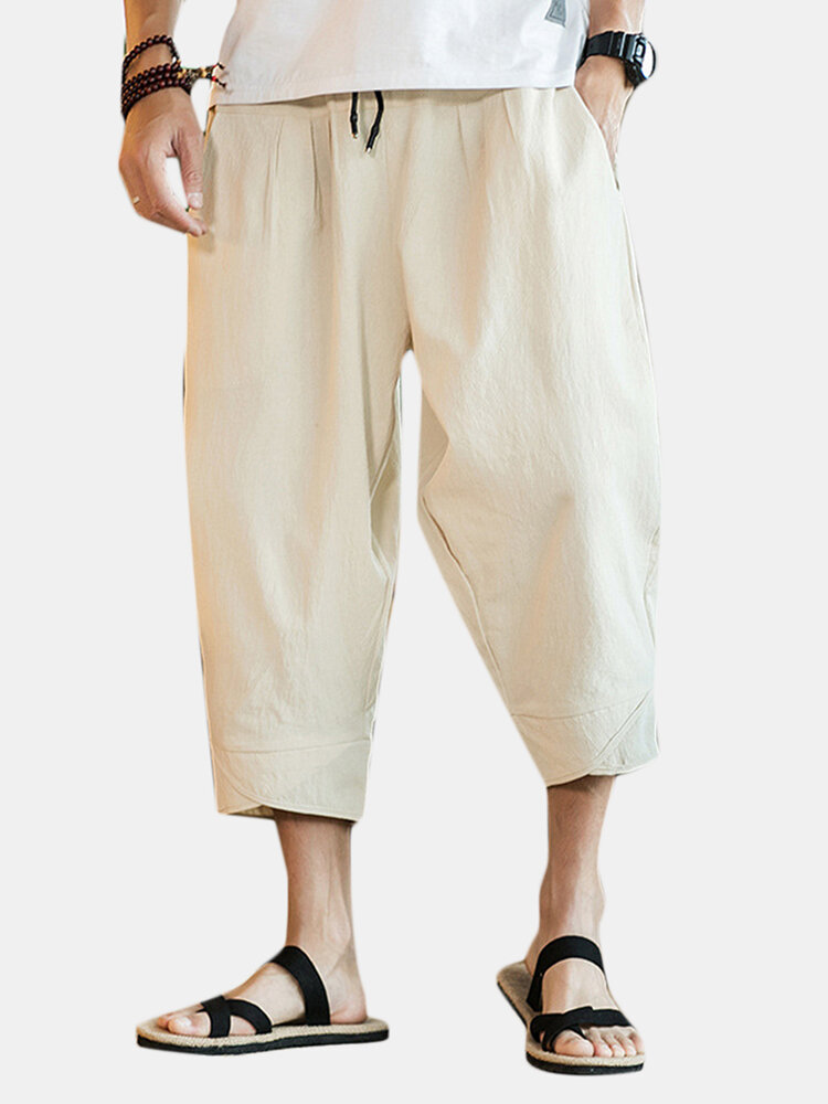 Mens Chinese Style Casual Baggy Linen Calf-Length Solid Color Loose Wide Leg Pants