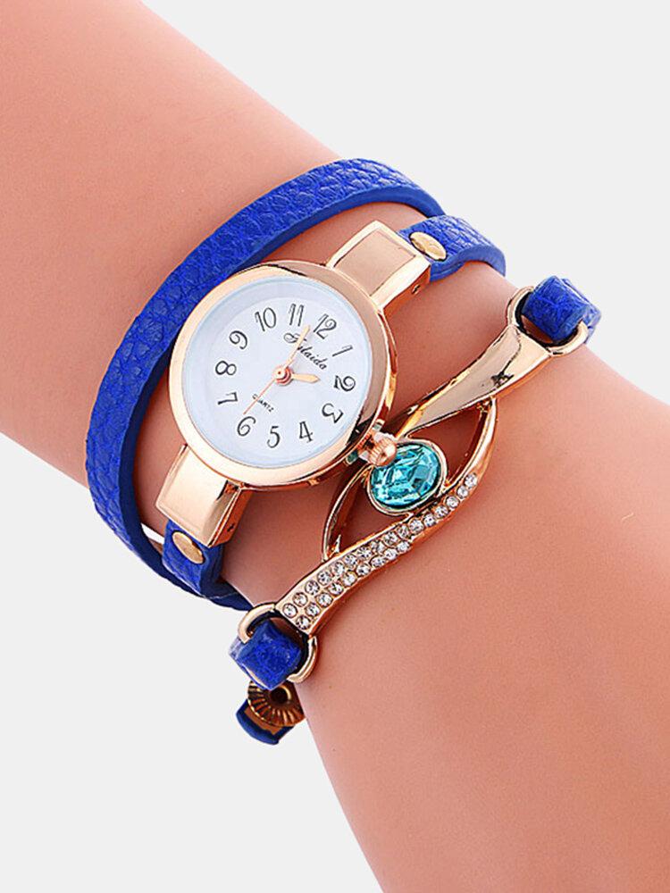 Retro Pu Strap Rhinestone Multi-layer Watch Metal Blue Crystal Adjustable Quartz Watch