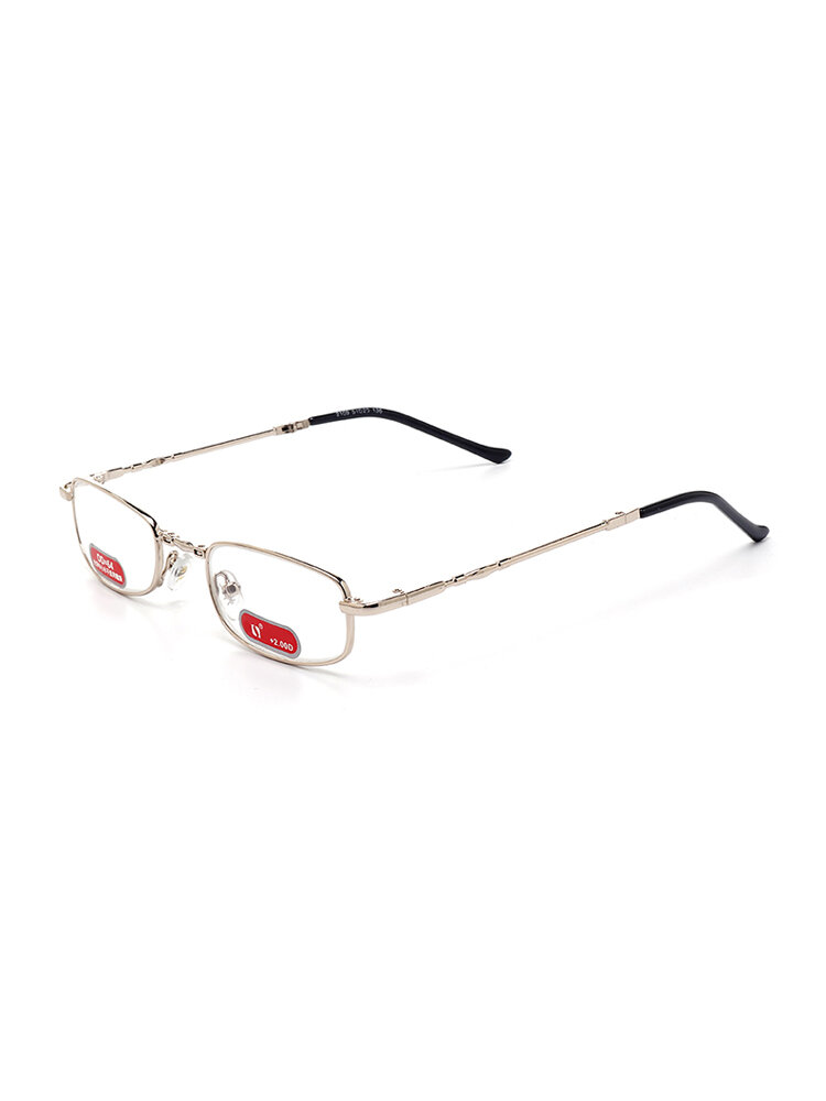 Mens Womens Foldable Copper Metal Frame Vision Care Durable Reading Glasses Eyeglasses With Case