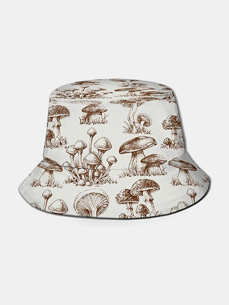Collrown Women & Men Mushroom Pattern Print Casual Soft Outdoor Travel Bucket Hat